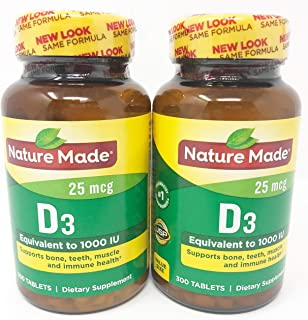 Nature Made Vitamin D3, 1000 IU, Tablets, 300 CT (Pack of 2)