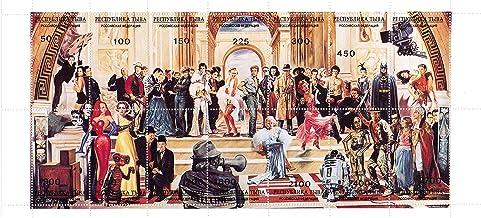 Estrellas Long Hollywood Sello Hoja - con Star Wars, Marilyn Monroe, Jessica Rabbit, John Wayne, Indiana Jones, Batman y Muchos más - 14 Sellos de Condiciones magníficas para coleccionistas - MNH