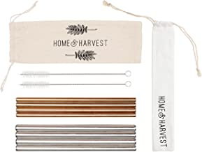 Reusable Stainless Steel Straws by Home & Harvest | Set of 8 Including 4 Extra Wide Smoothie Straws + 4 Rose Gold Straws | Includes 2 Cleaning Brushes + Handy Travel Carrying Case