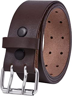 أحزمة جلد للرجال شديدة التحمل بعرض 1.75 بوصة مزدوجة الشق كاجوال حزام جروميت من الجلد