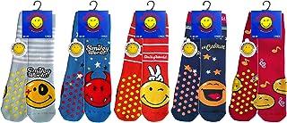 Smiley, 5 pares de calcetines antideslizantes para bebé, en felpa de algodón