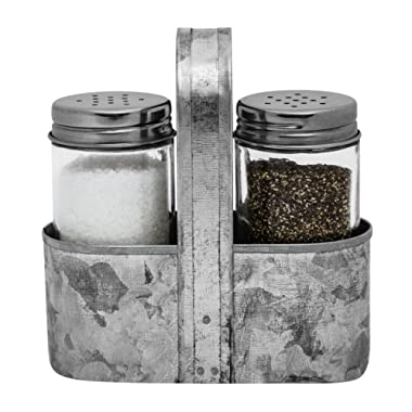 Farmhouse Salt and Pepper Shakers with Caddy Set by Saratoga Home - Rustic Vintage Galvanized Decor - Weddings, Restaurants - 3-Piece Set - Easy to Clean, No-Mess Refilling