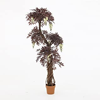 Quality Artificial Flowering Burgundy Deep Red Japanese Fruticosa Tree, Replica Indoor Outdoor Office Topiary Tree Plant - 165cm Tall