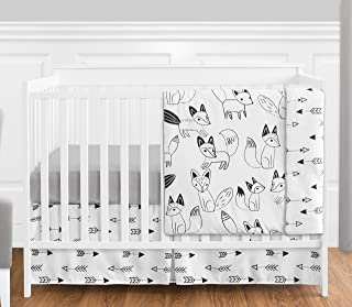 Grey, Black and White Fox and Arrow Baby Boys or Girls 4 Piece Crib Bedding Set Without Bumper