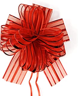 """Allgala 12-pc 6"""" Large Everyday Pull Bows, Red"""