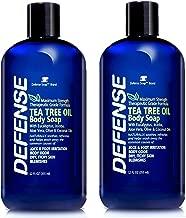 Defense Soap Body Wash Shower Gel 12 Oz (Pack of 2) - Natural Tea Tree Oil