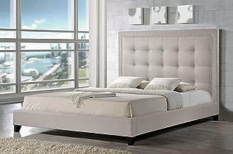 Baxton Studio Hirst Platform Bed, King, Light Beige