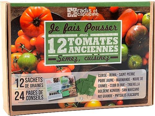 Radis et Capucine - Coffret graines de tomates - 12 sachets à semer avec livret explicatif