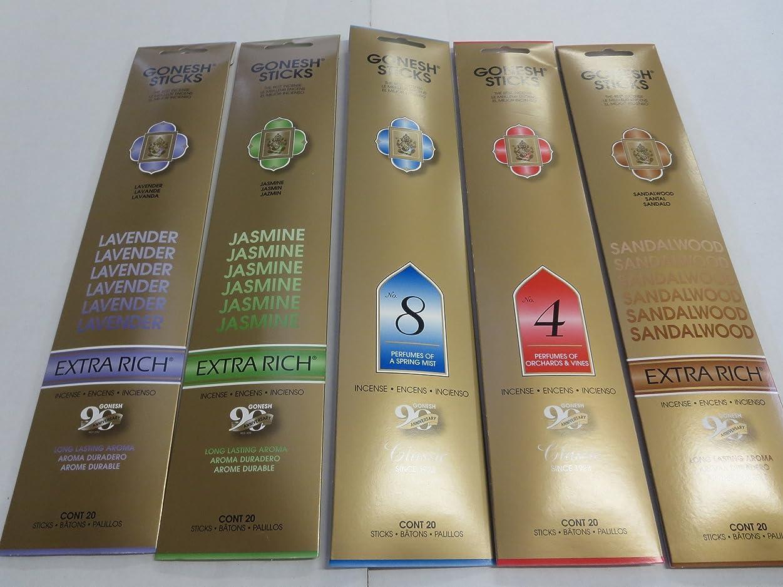 主張士気やけどGonesh Incense Sticks Variety Value Pack (100 Sticks) Lavender/Sandalwood/Jasmine/Spring Mist/Orchard & Vines
