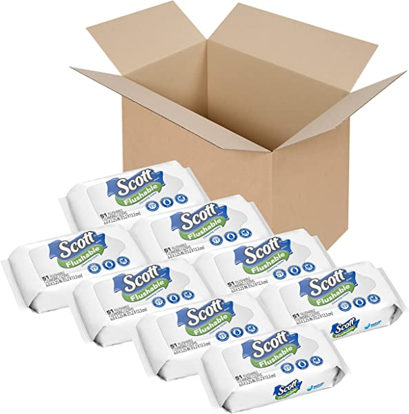 Scott Flushable Wipes No Added Fragrance 8 Soft Packs With 408 Wet Wipes Total Pack May Vary
