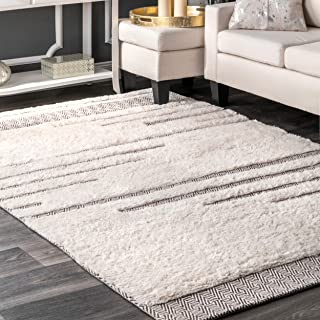 nuLOOM Moroccan Abstract Shag Rug, 5' x 8', Ivory