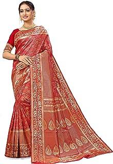 Mohak Creation Banarasi Silk Saree Multi Color Sari with Zari Work & Blouse Piece