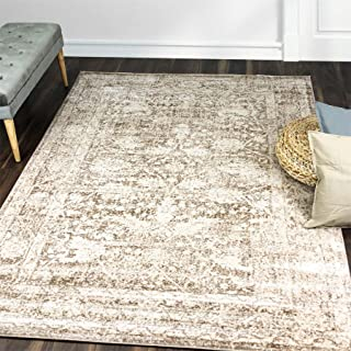 A2Z Rug Vintage Traditional Design Modern Santorini 6076 Collection Area Rugs Beige 2' x 8'