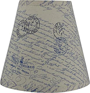 Urbanest Hardback Linen Empire Lamp Shade 5-inch by 9-inch by 8.5-inch, Vintage Blue Script