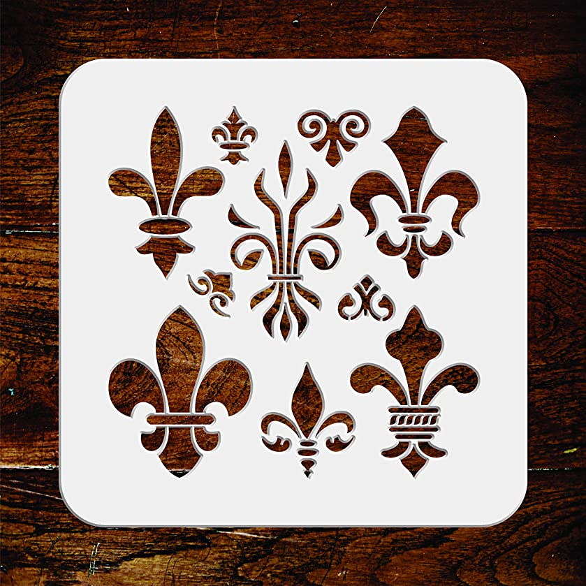 Fleur de Lis Stencil - 8.5 x 8.5 inch - Reusable Classic French Decor Wall Stencils Template - Use on Paper Projects Scrapbook Journal Walls Floors Fabric Furniture Glass Wood etc.