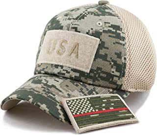THE HAT DEPOT Cotton Low Profile Tactical Operator USA Flag Patch Military Army Mesh Cap