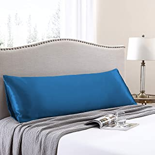 Love's cabin Body Pillow Cover, 20x54 inches Teal Blue Soft Satin Body Pillow case with Envelope Closure, Silky Slip Cooling Body Pillow Pillowcases for Hair and Skin