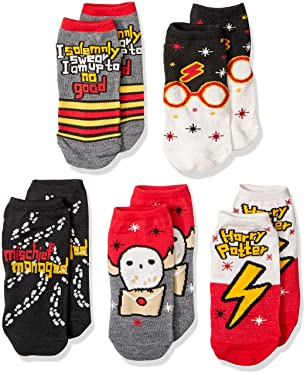 Harry Potter Muggle Hogwarts Express Hedwig Solemnly Swear 5 Pack Low Cut Adult Socks