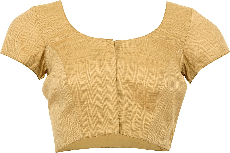 Jus Blouses By Varsha Mahendra Women's Cotton Saree Blouse (gold, 36)