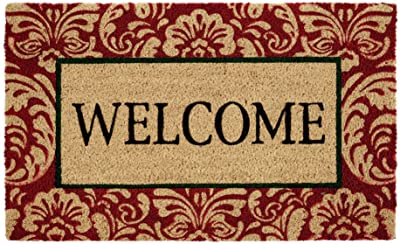 DII Welcome Home Natural Coir Doormat, Indoor/Outdoor, 18x30, Damask
