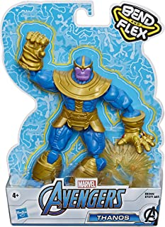 Avengers Marvel Bend and Flex Action Figure Toy, 6-Inch Flexible Thanos Figure, Includes Blast Accessory, for Kids Ages 4 and Up