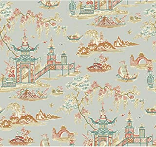 York Wallcoverings Waverly Classics II Peaceful Temple Removable Wallpaper, Metallics