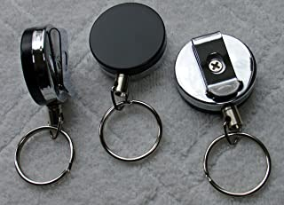 Heavy Duty (100% Solid Metal Front & Back) Retractable Reel Key-ID-Badge-Belt Clip & Chain Pull Sold Individually