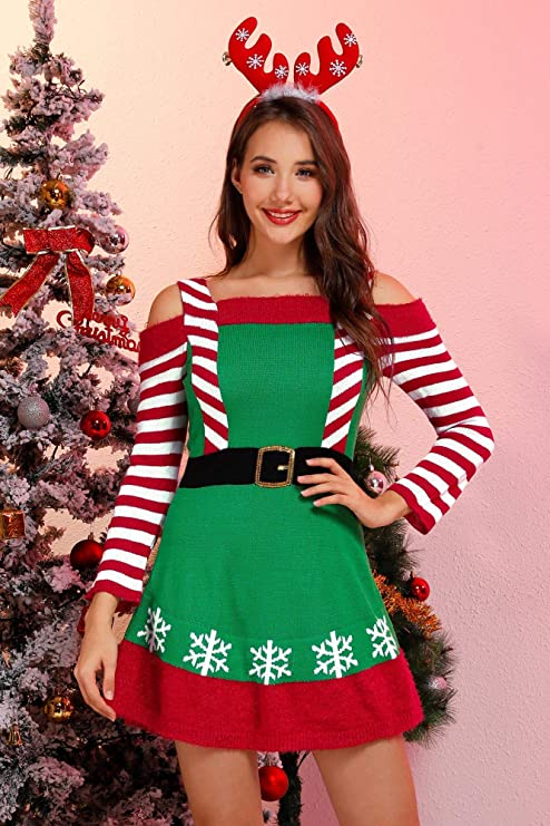 Christmas winter dress ideas for party, pretty winter dress with snowflakes and stripes, Women Christmas party dresses