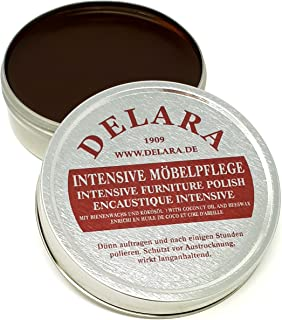 DELARA Intensive Möbelpflege, sehr hochwertiges Möbelwachs mit Bienenwachs und Kokosöl, 150 ml, braun – Made in Germany