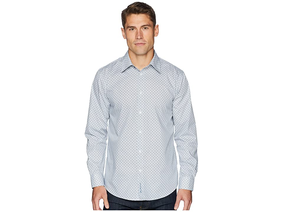Ben Sherman Long Sleeve Bias Check Print Shirt (Indigo) Men
