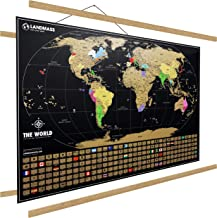 "Landmass Extra Large Scratch Off Map of The World with Frame - 24 x 36 Inches Scratch Off World Map Poster - Made in The USA - Travel Map - 36"" Wide Frame Included - The Perfect Gift for Travelers"
