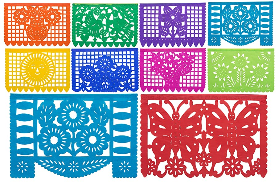 Paper Full of Wishes 2pk Medium Mexican Tissue Papel Picado Banner - Mi Tierra Linda - 10 Tissue Multi-Colored Panels on Each Banner