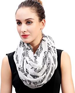 Lina & Lily Women's Musical Notes Print Infinity Loop Scarf