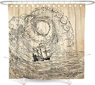 DESIHOM Octopus Shower Curtain Nautical Shower Curtain Kraken Ocean Shower Curtain Cool Shower Curtain Japanese Pirate Shower