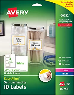 Avery Professional Grade Self-Laminating Water Resistant ID Labels,3-5/16