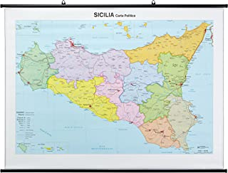 Cartina Della Sicilia Con Tutte Le Citta.Amazon It Cartina Geografica Sicilia