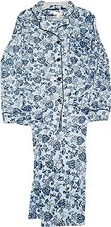Blue Floral 2 Piece Notch Collar Long Sleeve Pajama Sleep Set