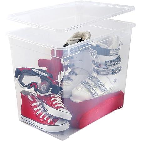 SUNDIS 4229001 Clear Box Boîte Transparent avec Couvercle, Plastique, 70L