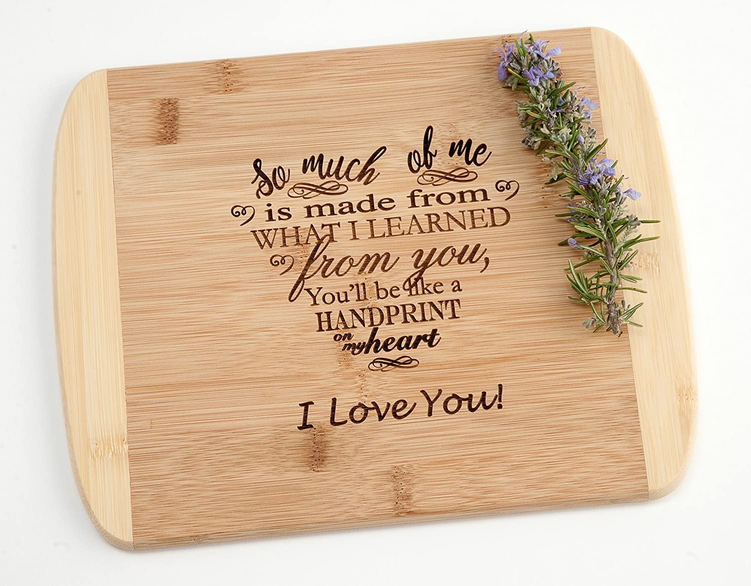 So Much of Me I Learned From You Engraved Wood Cutting Board Mothers Day Fathers Day Teacher Mom Dad Gift on Two Tone Bamboo
