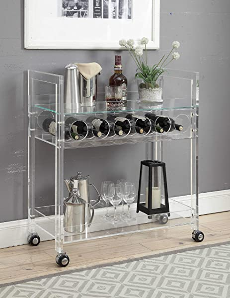 Benjara Benzara BM184793 Acrylic Serving Cart With Two Open Shelves And Wine Bottle Rack Clear