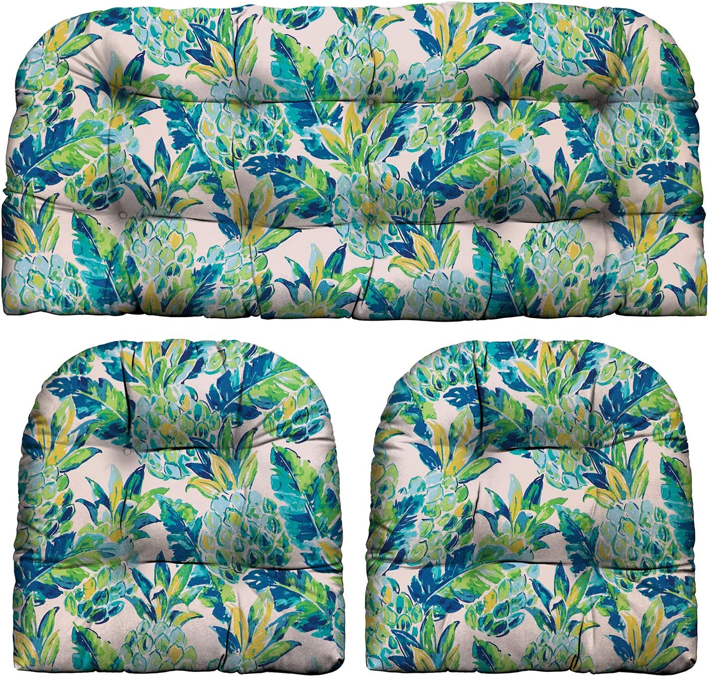 RSH Décor Indoor Outdoor Scroll & Medallion Prints - 3 Pc Tufted Wicker Cushion Set 1 Loveseat & 2 U-Shape-Choose Color & Size (Vida Opal Yellow Green Blue Lily Pineapple, LS 41