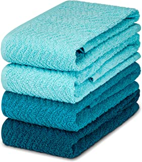 DecorRack 4 Large Kitchen Towels, 100% Cotton, 15 x 25 inches, Absorbent Dish Drying Cloth, Perfect for Kitchen, Solid Col...