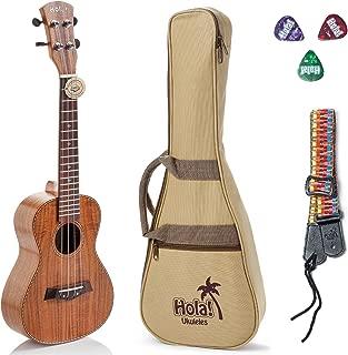 Tenor Ukulele Deluxe Series by Hola! Music (Model HM-127KA+), Bundle Includes: 27 Inch Koa Ukulele with Aquila Nylgut Strings Installed, Padded Gig Bag, Strap and Picks - Limited Edition