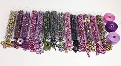 140g Grams Bead Mix Miyuki, FREE PRIORITY MAIL SHIPPING! Purple, Plum, Violet, Lilac, Burgundy-14 Colors, 10 Grams Each. Tilas, Half Tilas, 11/0, Superduos, Kheops Par Puca AND 3 Spools S-Lon D