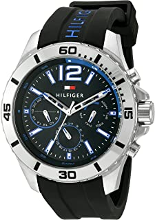 Tommy Hilfiger Men's Black Dial Silicone Band Watch - 1791143