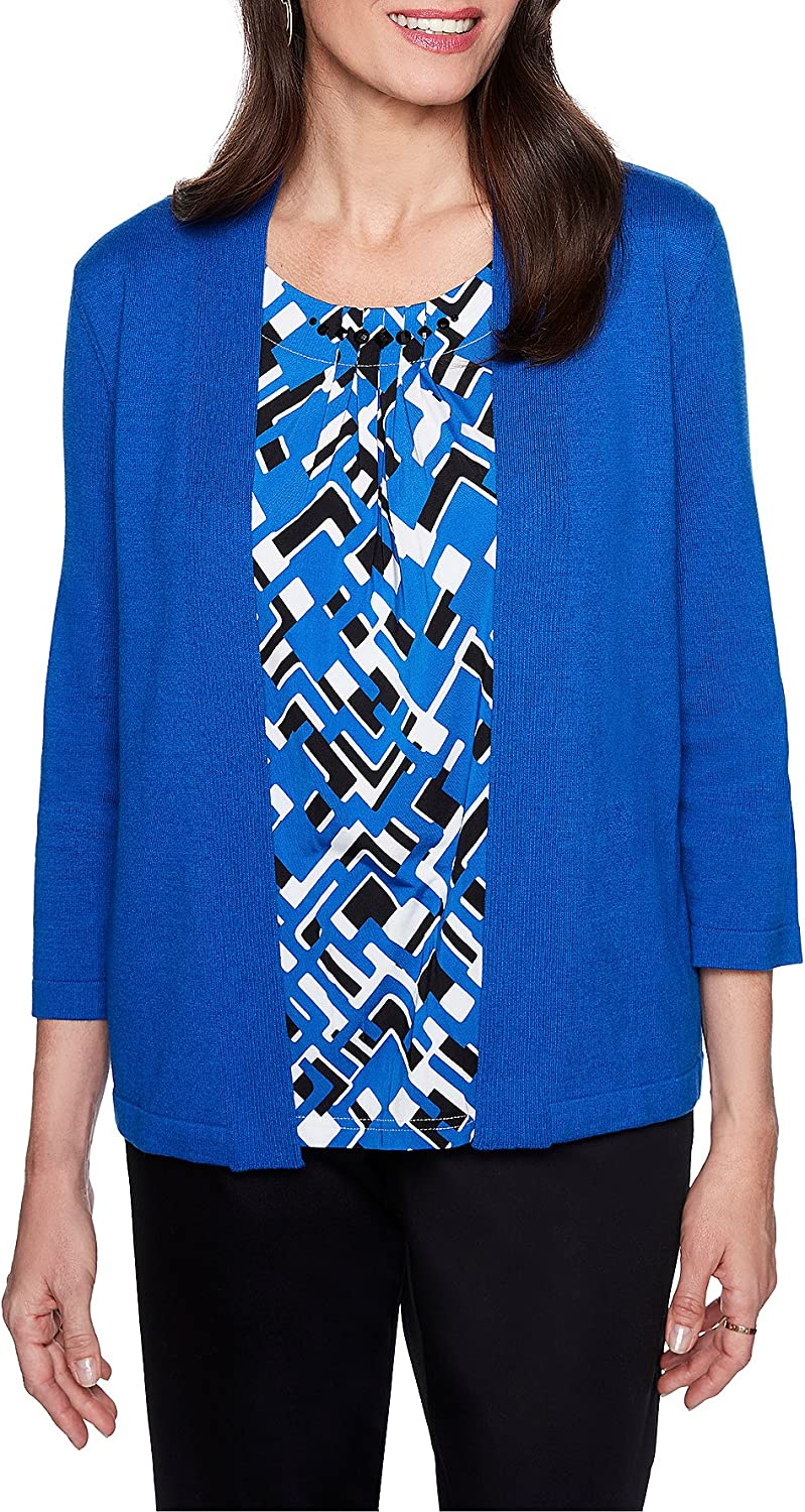 Alfred Dunner Womens Petite Geometric Inner Two for One Sweater