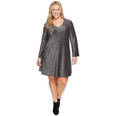 Karen Kane Plus Plus Size Sparkle Taylor Dress (Black/Silver) Women