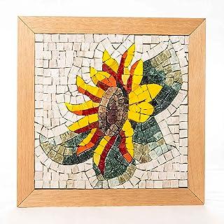 """Mosaico kit""""Fiore di Girasole"""" 23x23 cm - Tessere mosaico marmo & vetri di Murano - Idea regalo originale Natale/Compleann..."""
