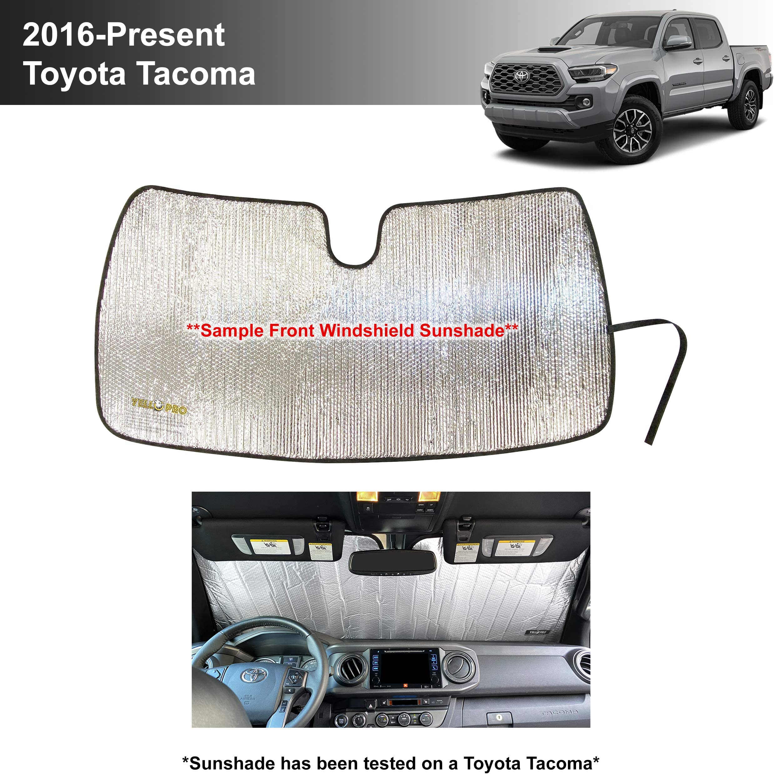 YelloPro Custom Fit Reflective Windshield Sunshade for 2016 2017 2018 2019 2020 2021 Toyota Tacoma, TRD Off-Road, SR, SR5, TRD Sport, TRD Pro, Limited 2Dr 4Dr Pickup, Accessories UV Reflector