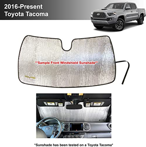 discount YelloPro Custom Fit Reflective Windshield Sunshade for 2016 2017 2018 2019 2020 2021 Toyota Tacoma, TRD Off-Road, SR, SR5, TRD Sport, TRD Pro, online sale Limited 2Dr 4Dr Pickup, Accessories UV new arrival Reflector outlet online sale